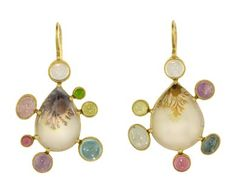 Judy Geib  Agate Earrings with Gems
