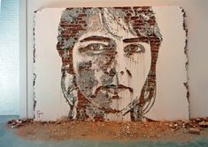 portuguese-born, london-based artist alexandre farto (vhils) creates arresting portraits by breaking away pieces of walls.
