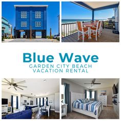 Blue Wave is a five-bedroom, four-and-a-half bath oceanfront home located .6 miles south of the Garden City Pier. This home features a fully-equipped kitchen complete with stainless steel appliances, washer/dryer, central heat and air conditioning, and ceiling fans. Six TVs and Wi-Fi are also provided. One bedroom (master) is located on the first floor, four are on the second. Sleeping accommodations include one king, three queen, and one double-sized bed, plus two twin-over-twin bunk bed… Bunk Bed Sets, Twin Bunk Beds, Garden City Beach, Beach Vacation Rentals, Central Heating, Stainless Steel Appliances, One Bedroom, Ceiling Fans, Tvs