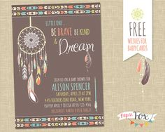 Dreamcatcher Baby Shower Invitation // Tribal, feathers, arrows.