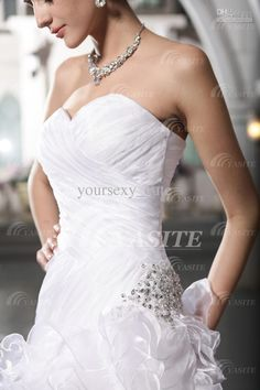 2013 Mermaid Wedding Dresses Sweetheart Cathedral Train Pleated Beads Ruffles Bandage Wedding Gowns