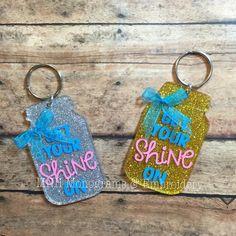 3 Mason Jar Keep Your Shine On Keychain, Mason Jar, Song Lyrics, Personalized, Monogrammed, Glitter, Sparkle, Accessories