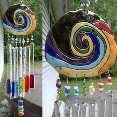 Rainbow Glass, Rainbow Art, Glass Ceramic, Ceramic Pottery, Glass Wind Chimes, Stained Glass Art, Ceramic Artists, Hanging Art, Glass Bottles