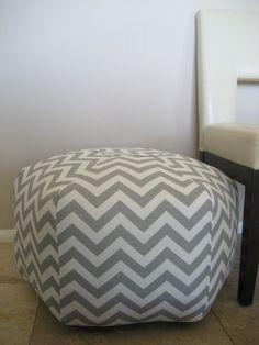 """24"""" Ottoman Pouf Floor Pillow Grey White Zig Zag Chevron. $105.00, via Etsy."""