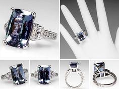 estate ring Natural Tanzanite Engagement Ring w/ Diamonds in White Gold - EraGem Purple Engagement Rings, Tanzanite Engagement Ring, Hand Jewelry, Stone Jewelry, Jewelry Rings, Tanzanite Jewelry, Vintage Diamond Rings, White Gold, Wedding Rings