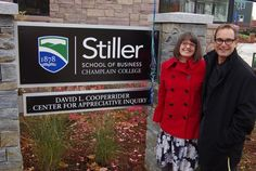 Welcome the new Center of Excellence & more in the Nov. 12 Explorer Newsletter. Photo: Lindsey Godwin and David L. Cooperrider for the new Cooperrider Center for Appreciative Inquiry at the Stiller School of Business at Champlain College.