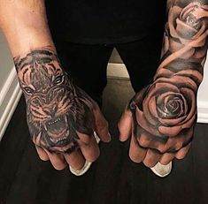 Hand Tattoos Pictures, Hand Tattoo Images, Full Hand Tattoo, Lion Hand Tattoo, Side Hand Tattoos, Rose Hand Tattoo, Forarm Tattoos, Girl Arm Tattoos, Cool Forearm Tattoos