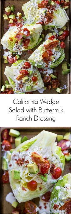 California Wedge Salad with Prosciutto Crumbles and Buttermilk Ranch Dressing | littlebroken.com @littlebroken Vinaigrette, California Recipe, California Salad, California Chicken, Prosciutto Appetizer, Prosciutto Recipes, Appetizer Salads, Appetizers, Wedge Salad Recipes