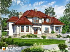 Projekt domu Rezydencja w Myślenicach 3 (P) - ARCHON+ House 2, House Front, Unique House Design, Modern House Plans, Home Design Plans, Home Fashion, My Dream Home, Architecture Design, House Styles