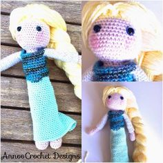 Elsa Crochet Doll - Inspired by the popular film Frozen, this adorable Elsa Crochet Doll will surely bring a smile to any little girl's face. With this crochet amigurumi pattern, you can work up a mini Elsa in no time, complete with a long, blonde braid and a pretty blue dress.