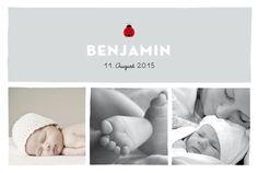 Geburtskarte Glückskäfer by Marion Bizet für Geburtskarten.com #Marienkäfer #Baby #Karte
