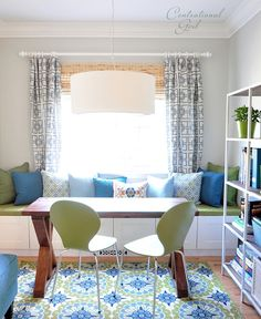 blue and green study with window seat-tuturials for window seat. Cushion & more + design ideas & a great green diy desk