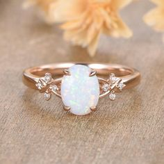Yellow Engagement Rings, Engagement Ring Settings, Vintage Opal Engagement Ring, Leaf Engagement Ring, Vintage Opal Rings, Vintage Jewellery, Antique Jewelry, Opal Wedding Rings, Ring Designs
