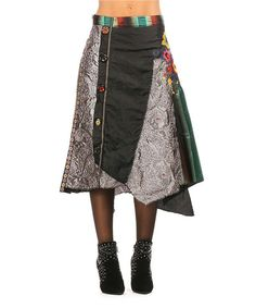 L33 by Virginie&Moi Black & Green Floral Patchwork Skirt   zulily