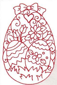 Image detail for -Redwork Easter Egg embroidery design:
