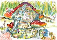 Ingrid Friesen Illustraties: Dat is toch onmogelijk! Of niet. Fall Crafts, Crafts For Kids, Mushroom Art, Postcard Art, Drawing For Kids, Fantasy World, In Kindergarten, Illustration, Fairy Tales