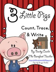 FREEBIE.....Three Little Pigs Number Count, Trace,  Write (2 Sheets)