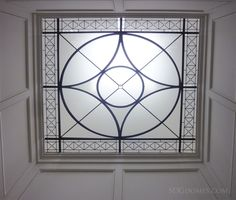 Leaded Glass Flat Lens positioned below a skylight. Perfect for #traditional and #transitional homes. Made by http://solariumglassdomes.com/