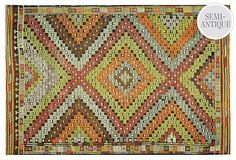 "5'9''x8'6'' Turkish Kilim, Apple Green  Made of:wool  Origin:Turkey  Construction:handmade  Age:semi-antique, 1970  Dimensions:5'9"" x 8'6""  Color:apple green/red/light blue"