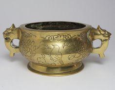 Vintage Chinese bronze censer incense burner.