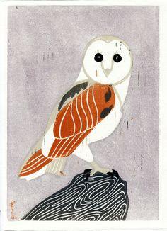 Schleiereule Vogel Hand gezogen Linolschnitt Kunst von annasee, $32.00