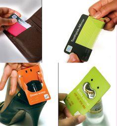 Toothpicks, bottle opener and shoe scoop business cards