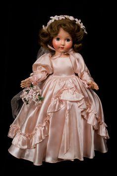 "16"" Effanbee hard plastic Honey from 1949 in pink satin Bridal gown! - Avgusta's Bisque Dolls #dollshopsunited"