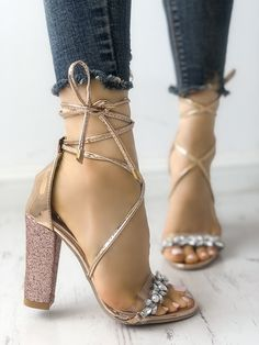 3f72887d12b Shop Shiny Transparent Strappy Chunky Heeled Sandals – Discover sexy women  fashion at Boutiquefeel. Chic Me