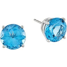 Round Genuine Blue Topaz 14K White Gold Earrings ($312) ❤ liked on Polyvore featuring jewelry, earrings, white gold jewelry, 14 karat gold earrings, stud earrings, sparkly earrings and earrings jewelry