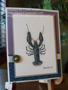 Stampin' Up By the Tide Crayfish with Artisan metal button; Chris Smith