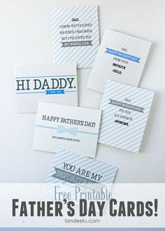 FREE Printable Father's Day Cards from Landeelu.com