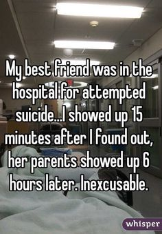 My best friend was in the hospital for attempted suicide.I showed up 15 minutes after I found out, her parents showed up 6 hours later. Sad Love Stories, Touching Stories, Sweet Stories, Cute Stories, Cute Quotes, Sad Quotes, Inspirational Quotes, Cute Relationships, Relationship Videos