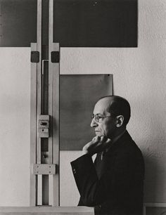 """chagalov:  Piet Mondrian, New York, 1942 -by Arnold Newman  [+](compare with another version of """"Mondrian"""" by Arnold Newman) [ref.: Arnold Newman, Selected Photographs, ed. by Herbert Locher in cooperation with Arnold Newman and Reinhold Mißelbeck, Cologne 1999] from grisebach"""
