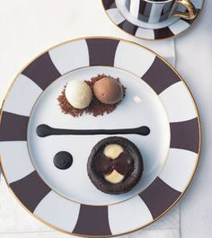 Entertaining Ideas: Chocolate Clafoutis - ELLE DECOR amazing plate and food paired with the perfect kitchen !