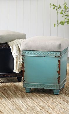 Add an extra seat, storage and an artful edge to any room; the Sawyer storage ottoman features a wonderfully distressed base, topped with a natural cushion.