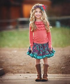 Persnickety Clothing Plum Crazy Lola Top in Coral Fall 2016 Cute Outfits With Jeans, Cute Outfits For School, Cute Winter Outfits, Spring Outfits, Kids Outfits, Little Girl Fashion, Kids Fashion, Fashion Outfits, Fashion Wear