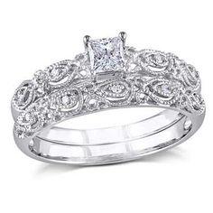 1/3 CT. T.W. Princess-Cut Diamond Vintage-Style Bridal Set in 10K White Gold