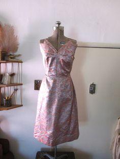 1950s Strapless Satin Dorothea of Hawaii by VieuxOaklandVintage. Beautiful neckline!!