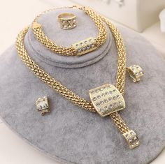 African 18k Gold Plated Necklace Set Women Crystal Bridal Wedding Jewelry Set