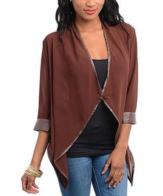 Take a look at this Brown Sidetail Cardigan by Buy in America on #zulily today!