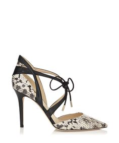 With these black leather snake print heels in your collection you'll be able to instantly upgrade a host of fail-safe night out looks in a matter of seconds. From a little black dress to a preppy cigarette trousers and blouse combo, they'll add an on-trend edge to any look. Our top tip - keep your heels the focal feature by teaming with block neutral colours. Heel height: 9cmMaterials: upper - calf leather, lining - microfibric leather, sole - oxfordColour: black, snake print