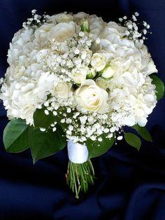 white bouquet - white hydrangeas, roses, baby's breath, salal