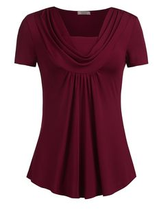 Women's Clothing, Tops & Tees, Blouses & Button-Down Shirts, Women's Cowl Neck Short Sleeve Swing Casual Tunic Top Blouse - Wine Red - Source by rosendycom clothes tops Casual Skirt Outfits, How To Wear Scarves, Ladies Dress Design, Blouse Designs, Short Sleeve Dresses, Tunic Tops, Clothes For Women, Dress Shirts For Women, Cowl Neck