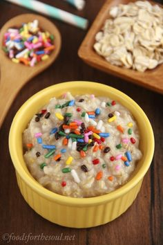 This healthy oatmeal tastes exactly like funfetti cake batter but has 9 grams of protein & under 175 calories! To make healthier, use almond milk.  Might be worth a try.