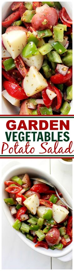 Garden Vegetable Potato Salad - A fresh mix of red potatoes, tomatoes, peppers, and red onion sprinkled with oregano and tossed in a simple oil and vinegar dressing. Healthy Salad Recipes, Veggie Recipes, Baked Vegetables, Veggies, Grilling Recipes, Cooking Recipes, Healthy Cooking, Healthy Eating, Vegetable Side Dishes