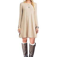 MOLERANI #Women's Casual Plain Simple T-shirt Loose Dress