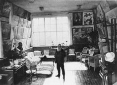 "Monet's studio- I like his system for ""painting storage"""