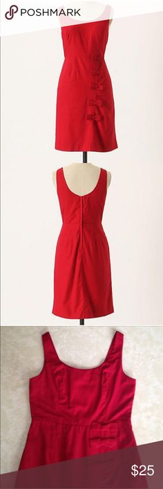 """Anthropologie Cascading bows dress Red cascading bows dress from Anthropologie. Bought from a fellow posher but is too tight in the bust area. Waist is 26"""" and bust is 28"""". I'm a 34C and it is too tight for me. Great condition, just needs a little steaming. Anthropologie Dresses"""