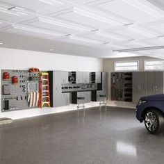 Flow Wall Dream Garage Deluxe 96 H x 432 W x 20 D Storage Cabinet Set Color: Silver Man Cave Garage, Garage House, Dream Garage, Car Garage, Garage Shop, Garage Art, Garage Closet, Armoire Garage, Garage Storage Cabinets