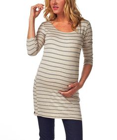 This Beige & Black Stripe Maternity Three-Quarter Sleeve Top - Women by PinkBlush Maternity is perfect! #zulilyfinds